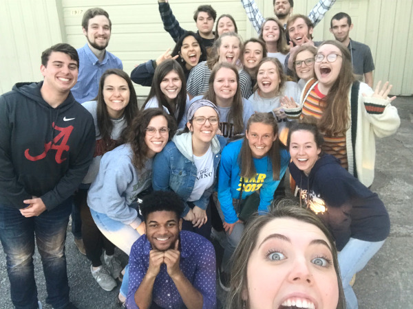 This is a picture of a group of college students at Fellowship Bible Church, Searcy